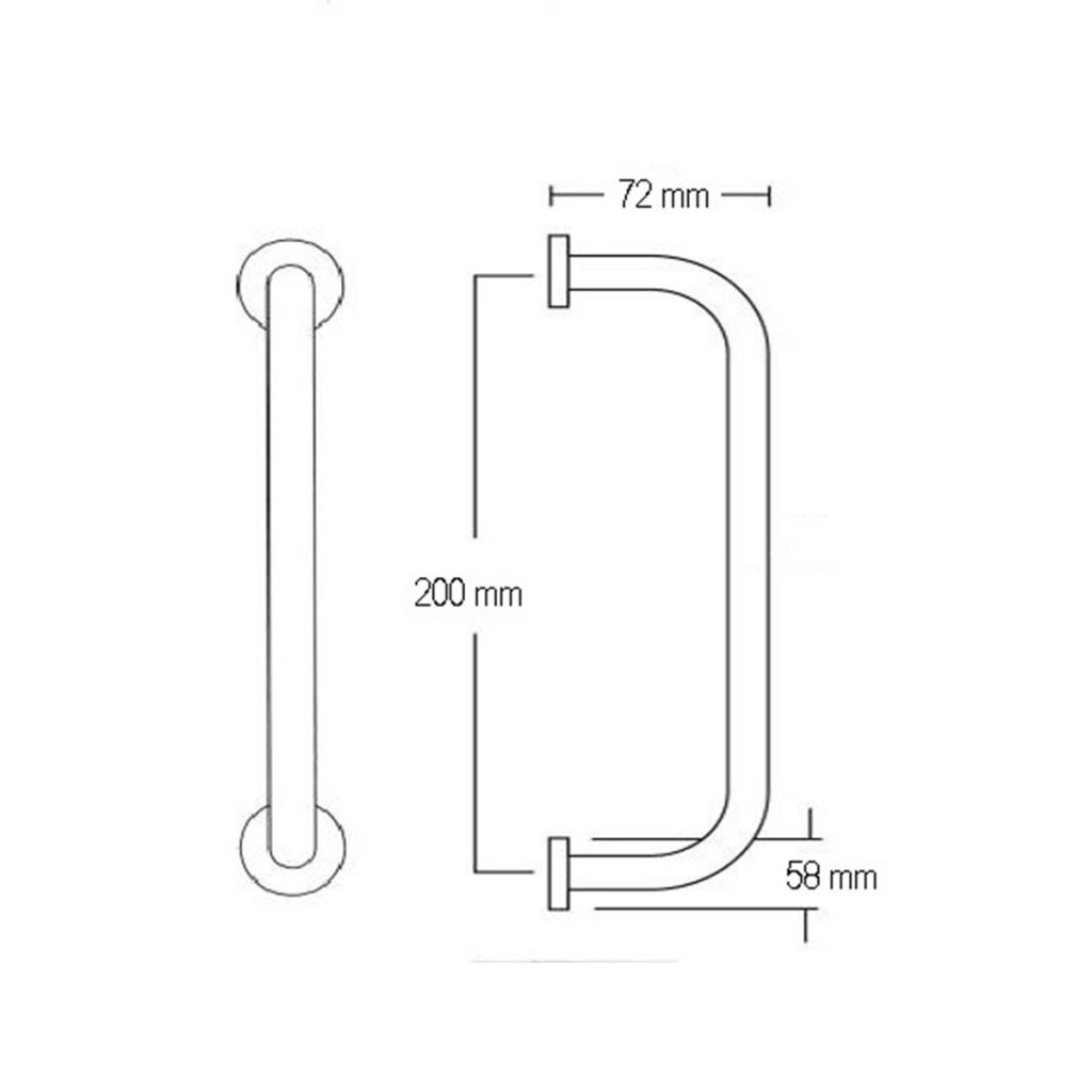 CPS Stainless Steel 'D' Pull Handle with rose (CPS PH100) Drawing