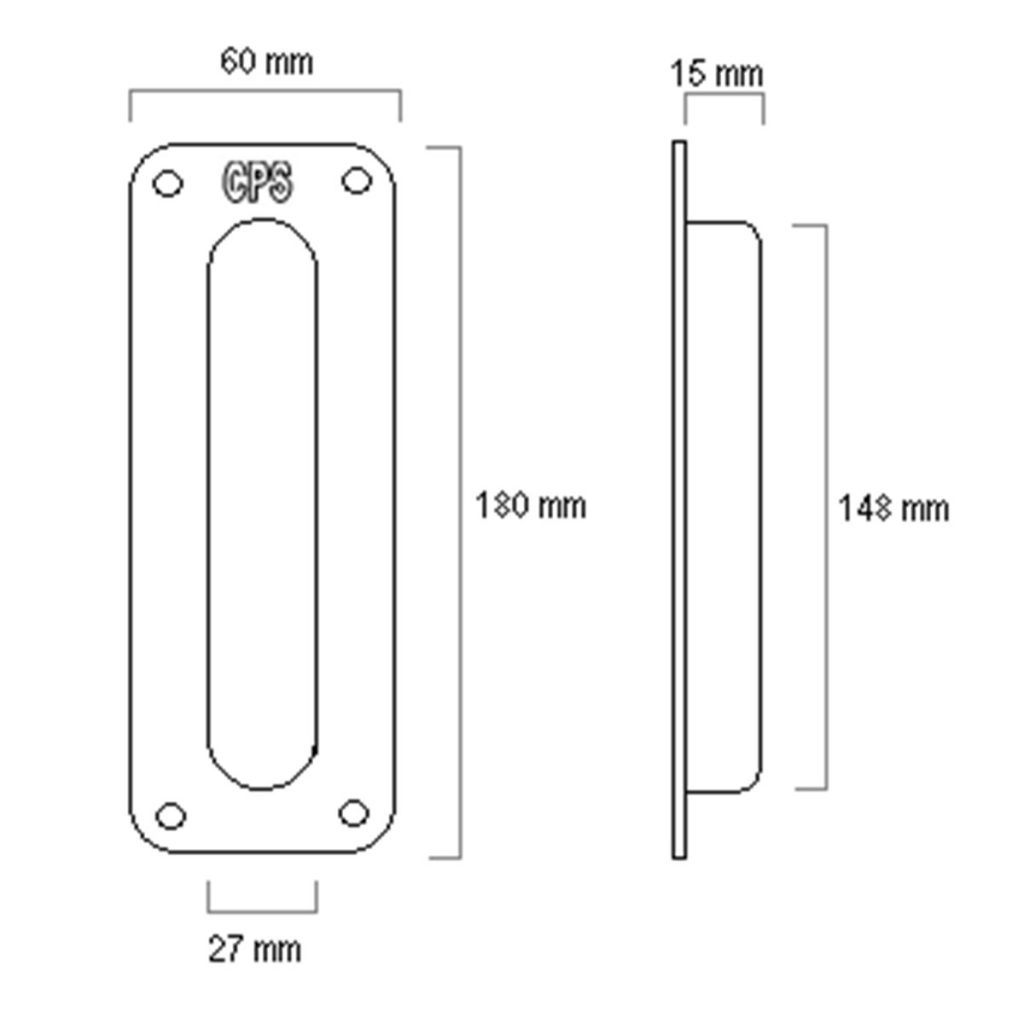 CPS SS Sliding Flush Pull Handle (CPS SH100) Drawing
