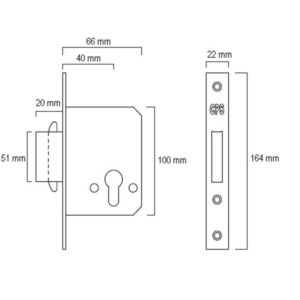 CPS Mortise Dead Lock with hook (CPS ML300) Drawing