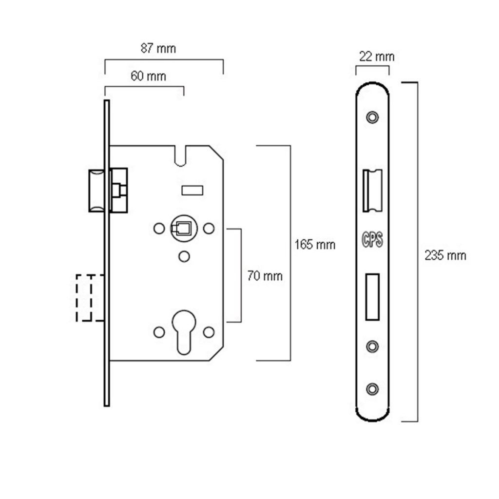 CPS Mortise Lock (CPS ML500) Drawing
