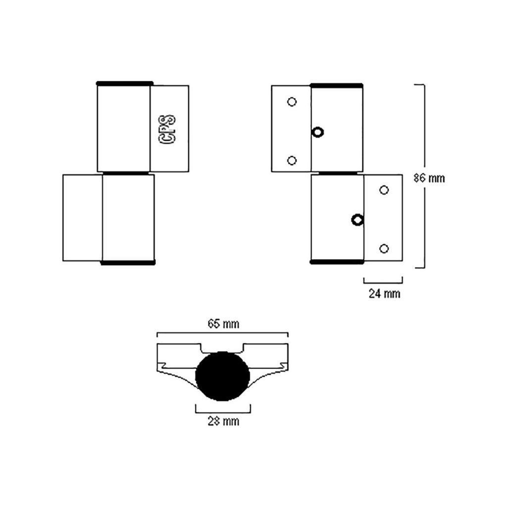 Heavy Duty Door Hinge (CPS DH100) Drawing
