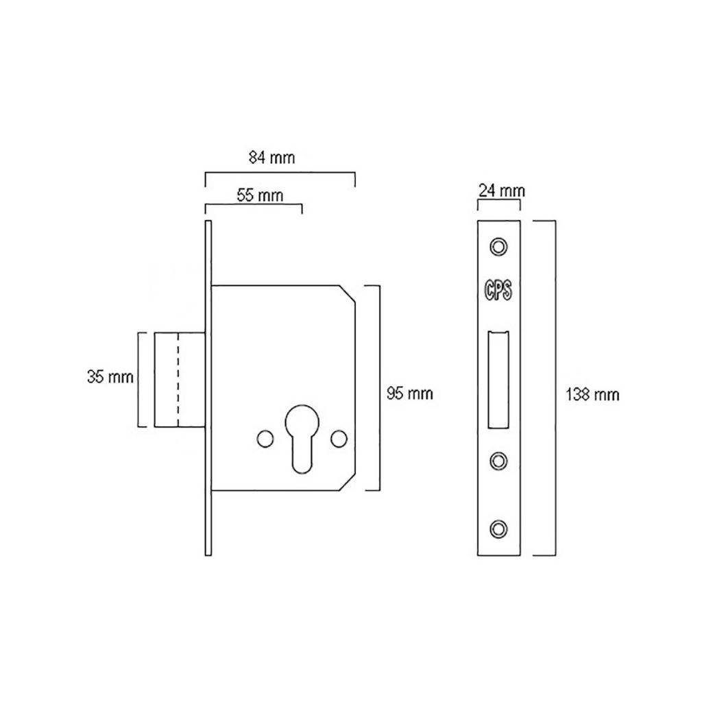 CPS Mortise Dead Lock (CPS ML400) Drawing