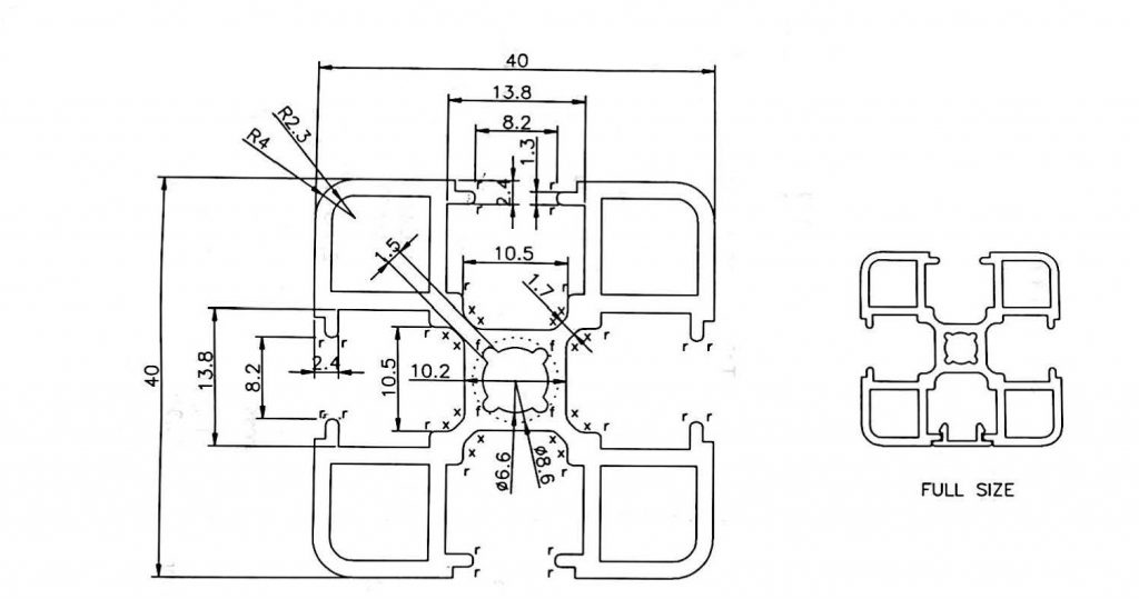 Aluminium Profile 40 X 40mm Cps4040 City Point Solutions