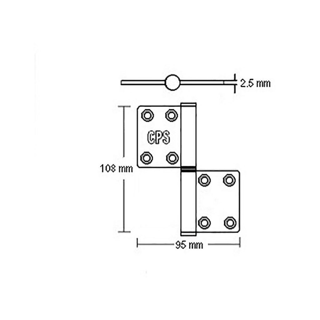 4″ Flag Door Hinge (CPS DH300) Drawing