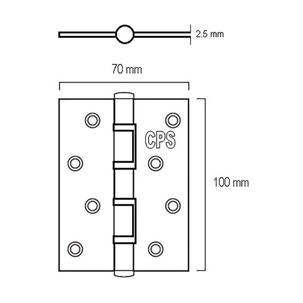 4″ S/S Door Hinge (CPS DH200) Drawing